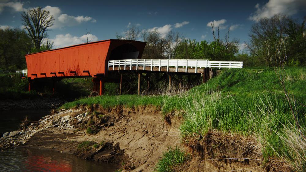 Le pont couvert Roseman, Iowa, Etats-Unis