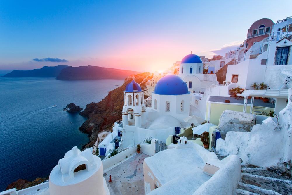 Coucher de soleil à Santorin en Grèce