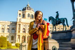 Jeune femme à Vienne en Autriche